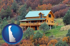 delaware map icon and a mountainside vacation home
