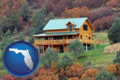 florida map icon and a mountainside vacation home