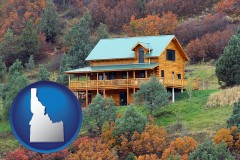 idaho map icon and a mountainside vacation home
