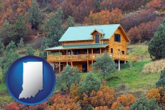 indiana map icon and a mountainside vacation home