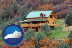 kentucky map icon and a mountainside vacation home