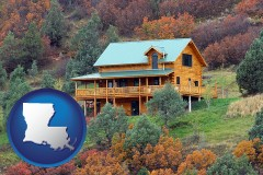 louisiana map icon and a mountainside vacation home