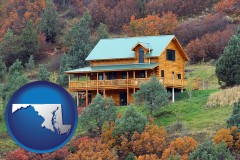 maryland map icon and a mountainside vacation home