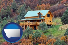 montana map icon and a mountainside vacation home