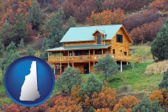 new-hampshire map icon and a mountainside vacation home