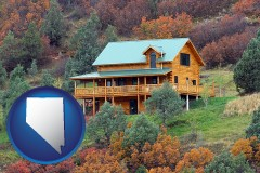 nevada map icon and a mountainside vacation home