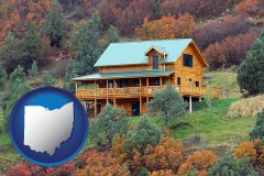 ohio map icon and a mountainside vacation home