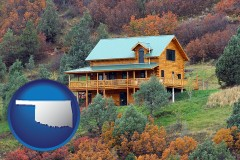 oklahoma map icon and a mountainside vacation home