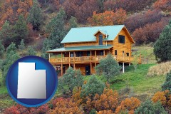 utah map icon and a mountainside vacation home