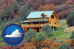 virginia map icon and a mountainside vacation home