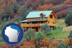 wisconsin map icon and a mountainside vacation home