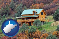 west-virginia map icon and a mountainside vacation home