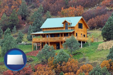 a mountainside vacation home - with North Dakota icon