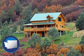 a mountainside vacation home - with Washington icon