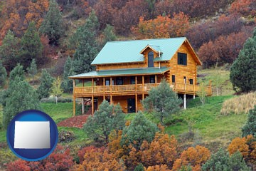 a mountainside vacation home - with Wyoming icon